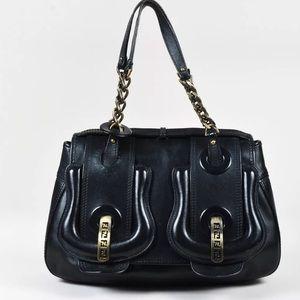 🔥🔥SOLD🔥🔥FENDI leather monogram buckle handbag